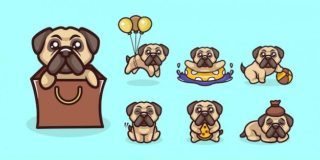 Zestaw Kreskówka Maskotka ładny Pies Mops Kreskówka Logo Premium Wektorów