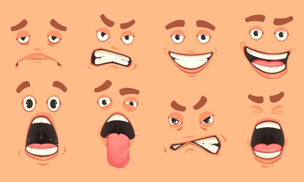Zestaw Kreskówka Mężczyzna Usta Darmowych Wektorów