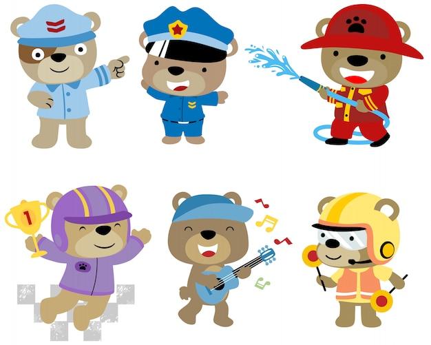 Zestaw kreskówka niedźwiedź Premium Wektorów