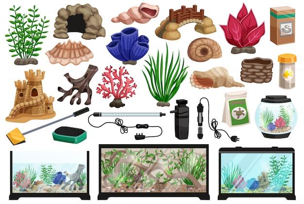 Zestaw kreskówka podwodne akwarium Darmowych Wektorów