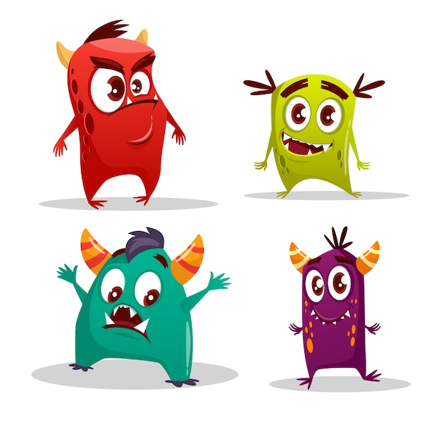 Zestaw kreskówka potwór. śmieszne fantastyczne stwory z gniewnymi szczęśliwymi zdziwionymi emocjami Darmowych Wektorów