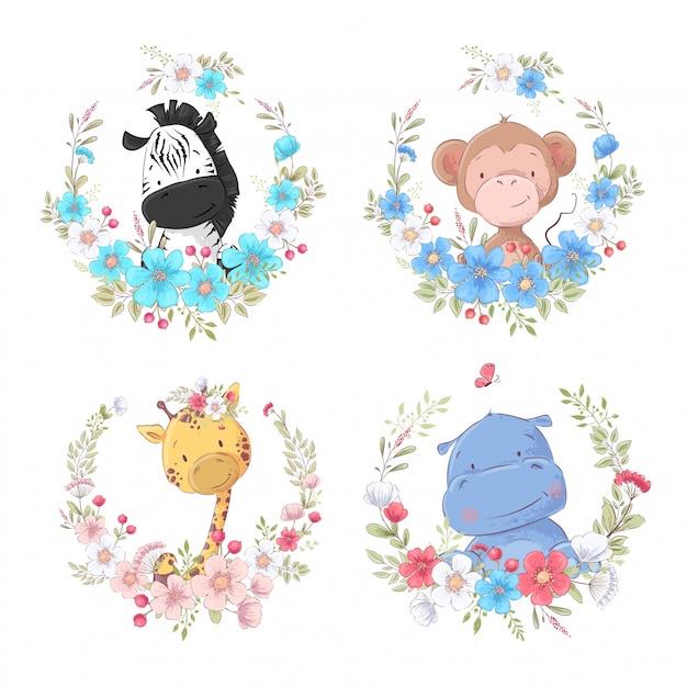 Zestaw kreskówka słodkie zwierzęta zebra małpa żyrafa i hipopotam w kwiatowe wieńce dla dzieci clipart. Premium Wektorów