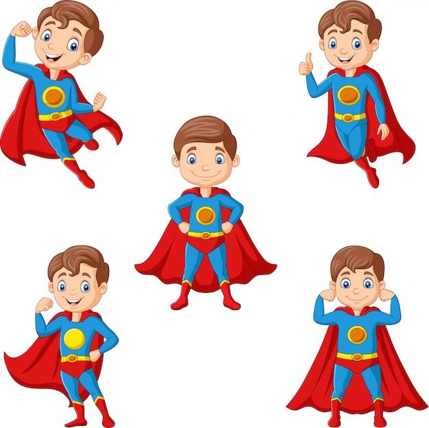 Zestaw kreskówka superbohatera chłopca Premium Wektorów