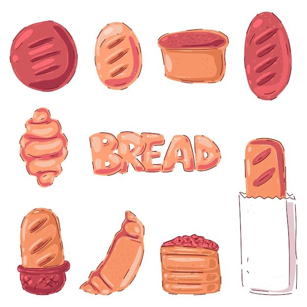 Zestaw Kreskówka Wypieki I Chleb Premium Wektorów