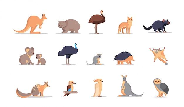 Zestaw Kreskówka Zagrożonych Dzikich Zwierząt Australijskich Kolekcji Przyrody Gatunków Fauny Koncepcja Płaskie Poziome Premium Wektorów
