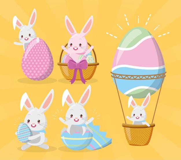 Zestaw królików, życząc wesołych świąt Darmowych Wektorów