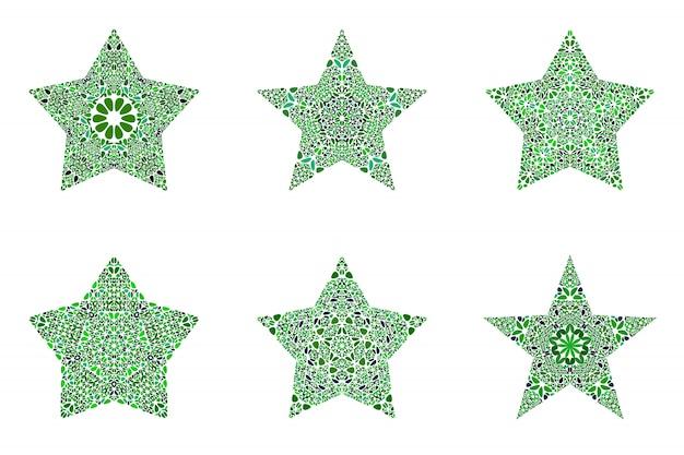 Zestaw Kształt Gwiazdy Geometryczne Streszczenie Kwiatowy Mozaiki Premium Wektorów