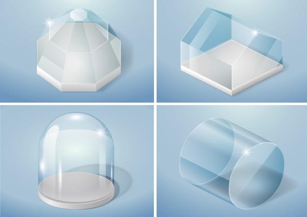 Zestaw Kształtów Szklanych Premium Wektorów