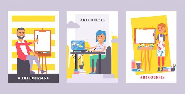Zestaw kursów plastycznych plakatów. mężczyzna na płótnie. dziewczyny obsiadanie przed laptopem słucha w słuchawkach online Premium Wektorów