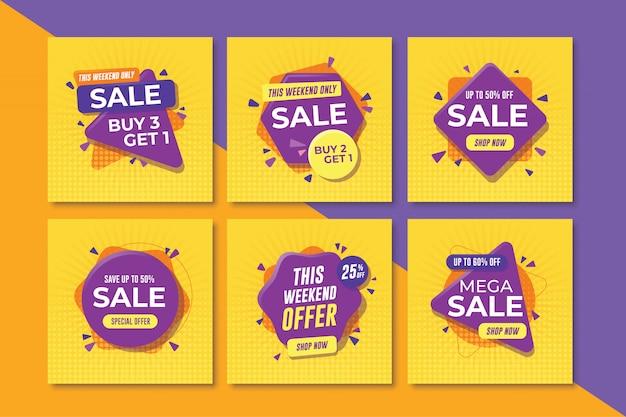 Zestaw kwadratowych banerów sprzedaż dla mediów społecznościowych Premium Wektorów
