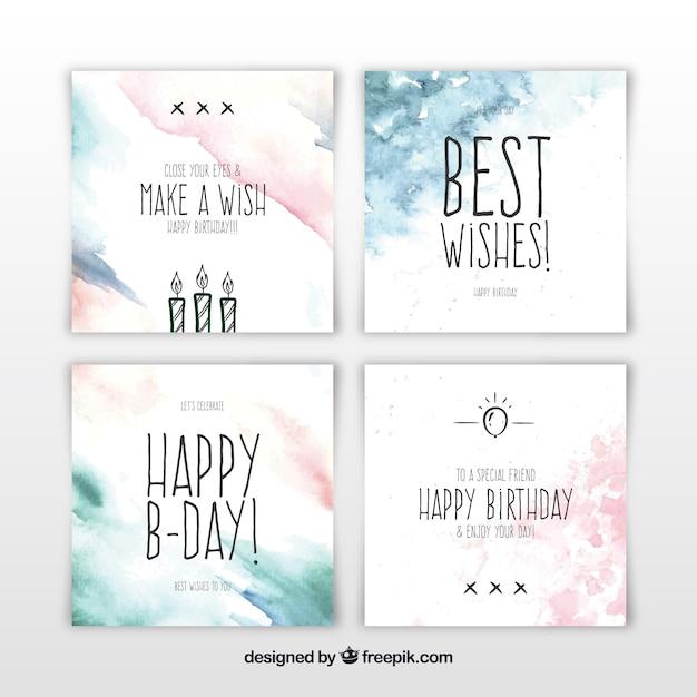 Zestaw kwadratowych kart urodzinowych akwarela Darmowych Wektorów