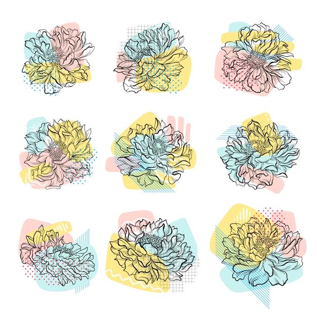 Zestaw Kwiatów Wyciągnąć Rękę Z Kolorowe Tło Streszczenie. Grafika Liniowa. Premium Wektorów