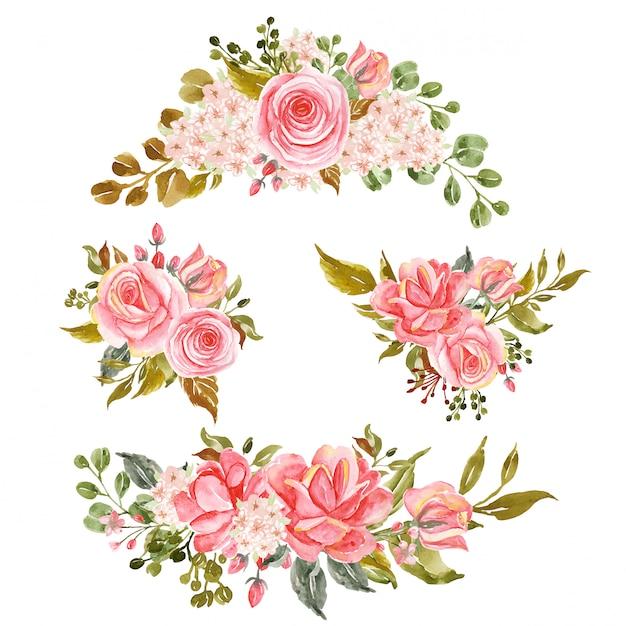 Zestaw Kwiatowy Gałąź, Układ Akwarela Kwiat Róży Różowy Premium Wektorów