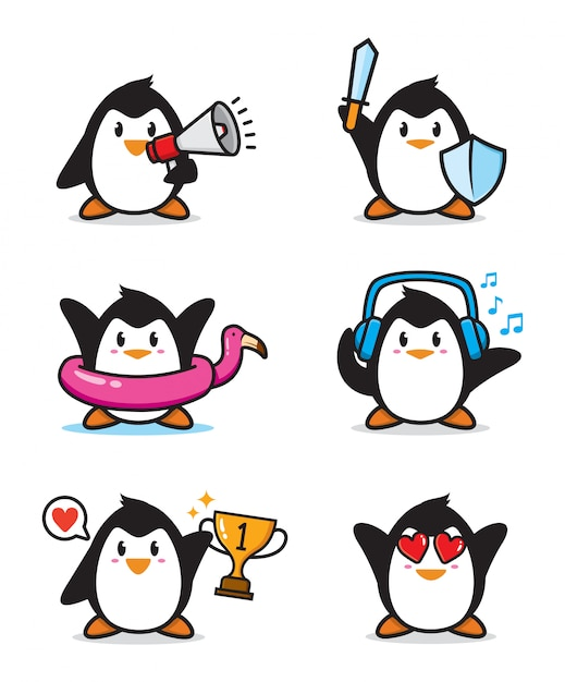 Zestaw ładny Charakter Pingwina Premium Wektorów