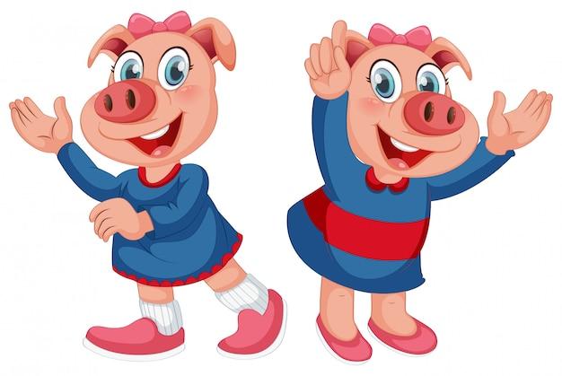 Zestaw ładny charakter świni Darmowych Wektorów