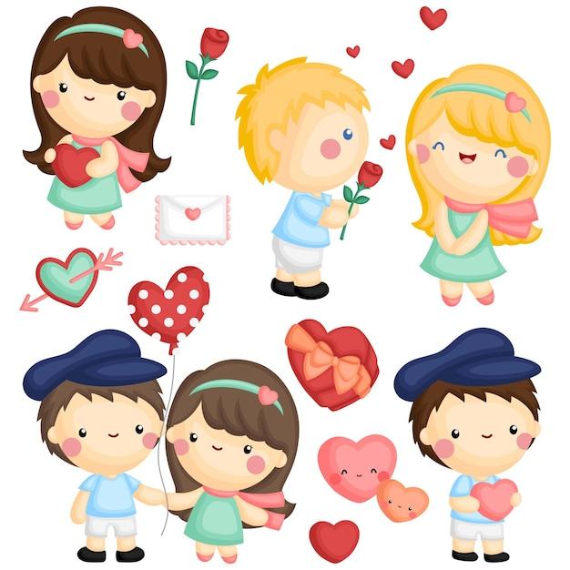 Zestaw ładny Dziewczyna I Chłopiec, Okazując Miłość Sobie Nawzajem Darmowych Wektorów