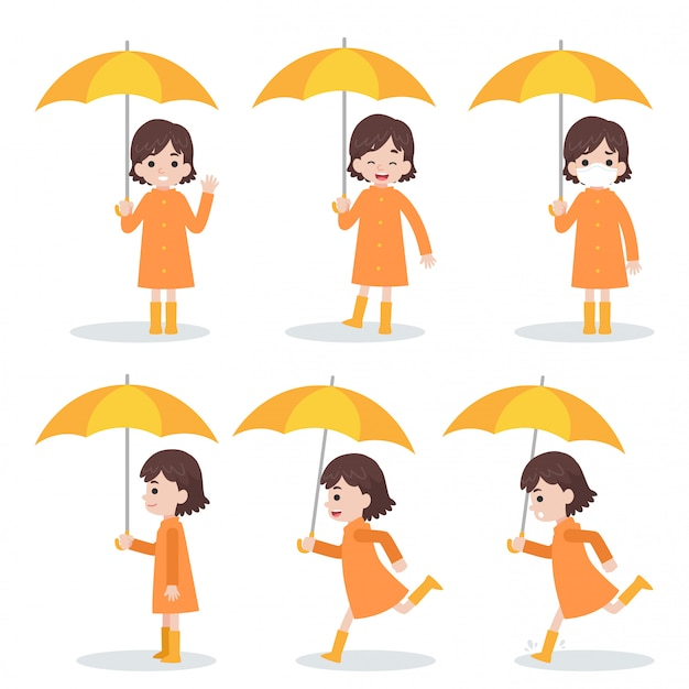 Zestaw ładny Dziewczyna Ubrana W Pomarańczowy Płaszcz Gospodarstwa żółty Parasol Biegać Premium Wektorów