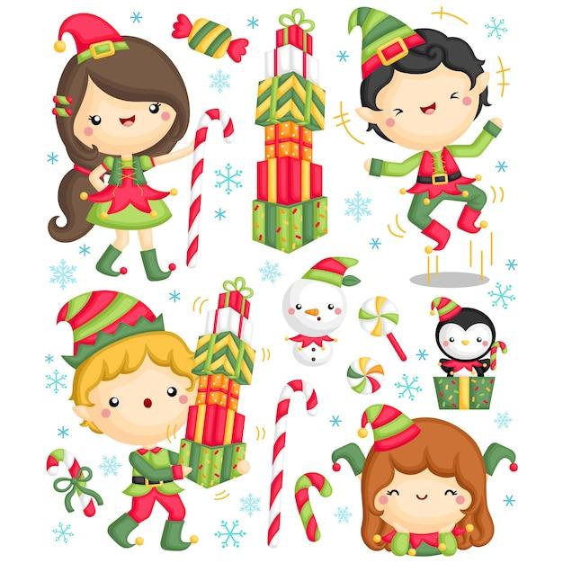 Zestaw ładny Elf Kids Darmowych Wektorów