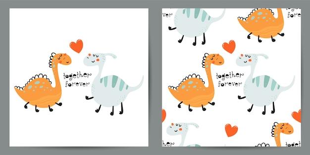 Zestaw ładny Ilustracja I Wzór Z Dinozaurami Premium Wektorów
