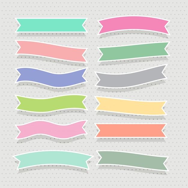 Zestaw ładny miękki kolorowy wstążki Darmowych Wektorów