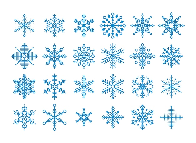 Zestaw ładny Płatki śniegu. Kolekcja Płatka śniegu Premium Wektorów