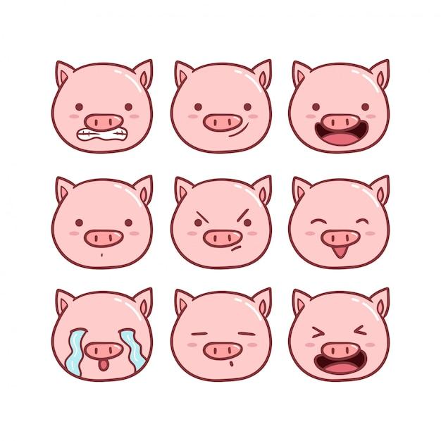 Zestaw ładny świnia emotikon Premium Wektorów