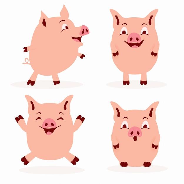Zestaw ładny świnia - urocza kolekcja ilustracja płaski świnia Premium Wektorów