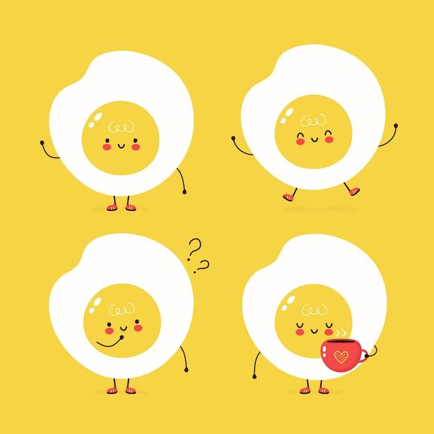 Zestaw ładny Szczęśliwy Smażone Jajka. Wektorowego Postać Z Kreskówki Ilustracyjny Projekt, Prosty Mieszkanie Styl. Pakiet Znaków Jajko Sadzone, Koncepcja Kolekcji Premium Wektorów