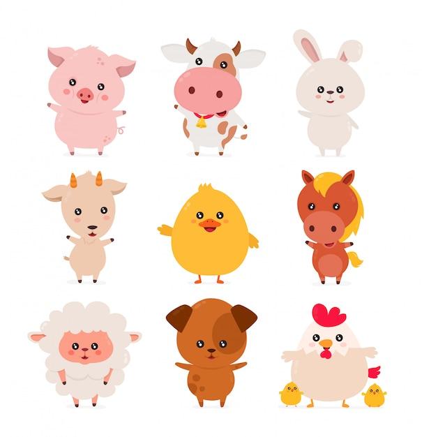 Zestaw ładny zabawny uśmiechający się zadowolony zwierząt gospodarskich Premium Wektorów