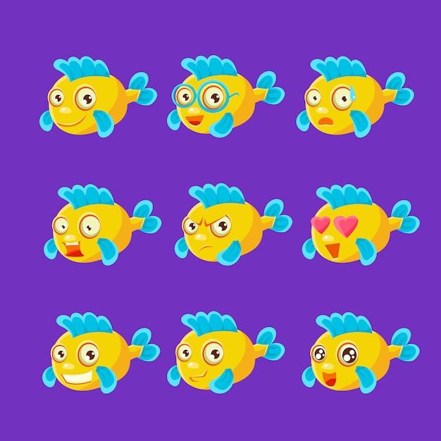 Zestaw ładny żółty Ryba Akwarium Kreskówka Zestaw Różnych Wyrazów Twarzy I Emocji Premium Wektorów
