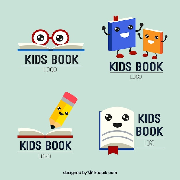 Zestaw ładnych dzieci czytania logo Darmowych Wektorów