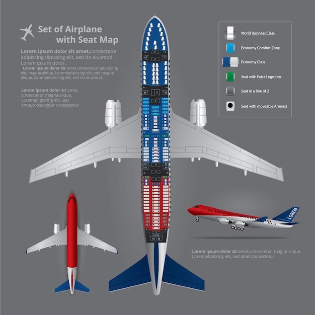 Zestaw lądowania samolotu z mapa miejsc na białym tle Premium Wektorów
