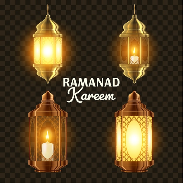 Zestaw lamp ramadan Premium Wektorów