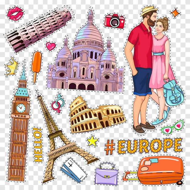 Zestaw łatek Travel Pop Art Darmowych Wektorów