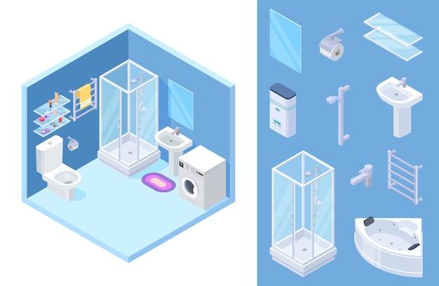 Zestaw łazienkowy Izometryczny Premium Wektorów