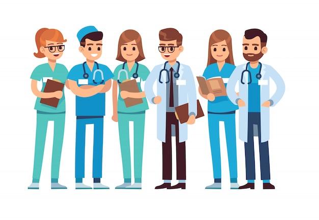 Zestaw Lekarzy. Personel Medyczny Lekarz Pielęgniarka Terapeuta Chirurg Profesjonalny Personel Szpitala Lekarz Grupy, Postaci Z Kreskówek Wektorowych Premium Wektorów