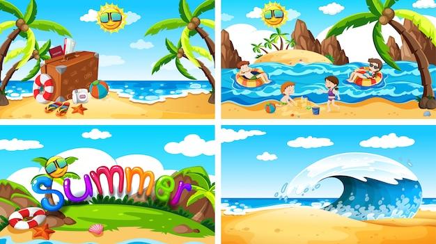 Zestaw letnich scen na plaży Darmowych Wektorów
