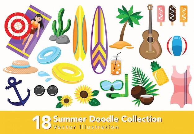 Zestaw Letniej Ikony Kolekcji Premium Wektorów