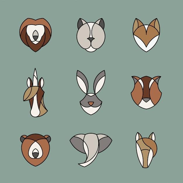 Zestaw liniowej grafiki głów zwierząt Darmowych Wektorów