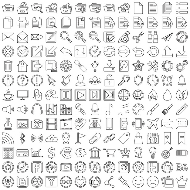 Zestaw liniowych ikon dla sieci web Darmowych Wektorów