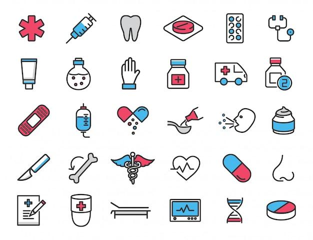 Zestaw Liniowych Ikon Medycznych Ikony Zdrowia Premium Wektorów