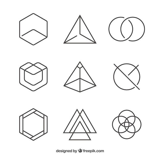 Zestaw Liniowych Symboli Geometrycznych Darmowych Wektorów