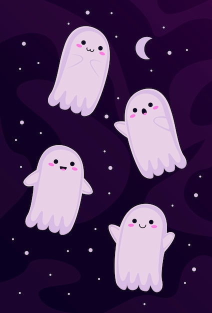 Zestaw little ghosts Premium Wektorów