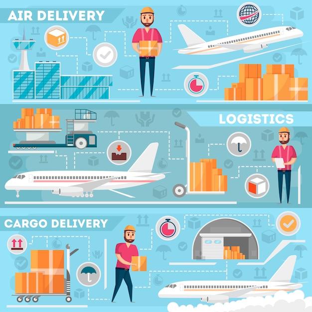 Zestaw logistyki lotniska i zarządzania dostawami Premium Wektorów