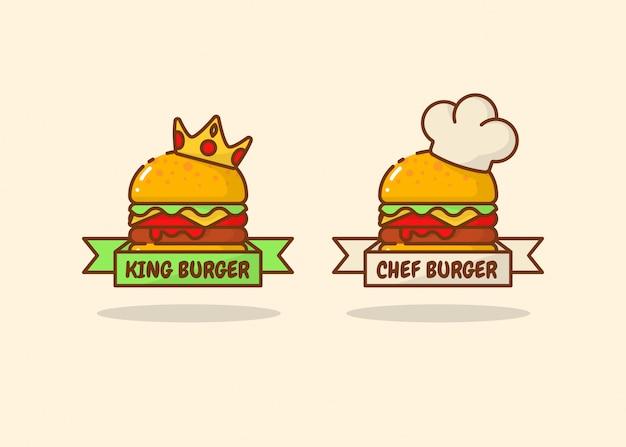 Zestaw Logo Burger Premium Wektorów