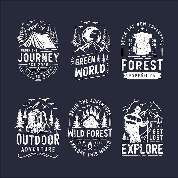 Zestaw Logo Camping I Outdoor Premium Wektorów
