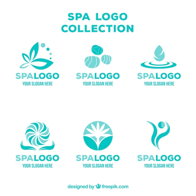 Zestaw Logo Centrum Spa W Stylu Płaski Darmowych Wektorów