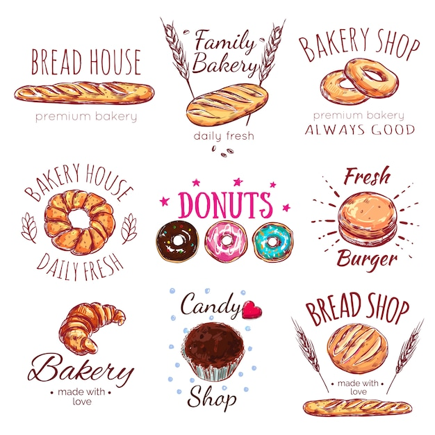 Zestaw Logo Chleba Darmowych Wektorów