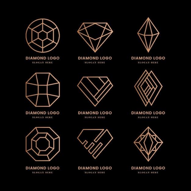 Zestaw Logo Diamentu Premium Wektorów