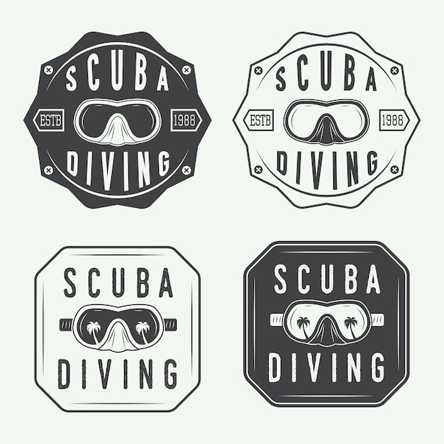 Zestaw logo do nurkowania, etykiety Premium Wektorów